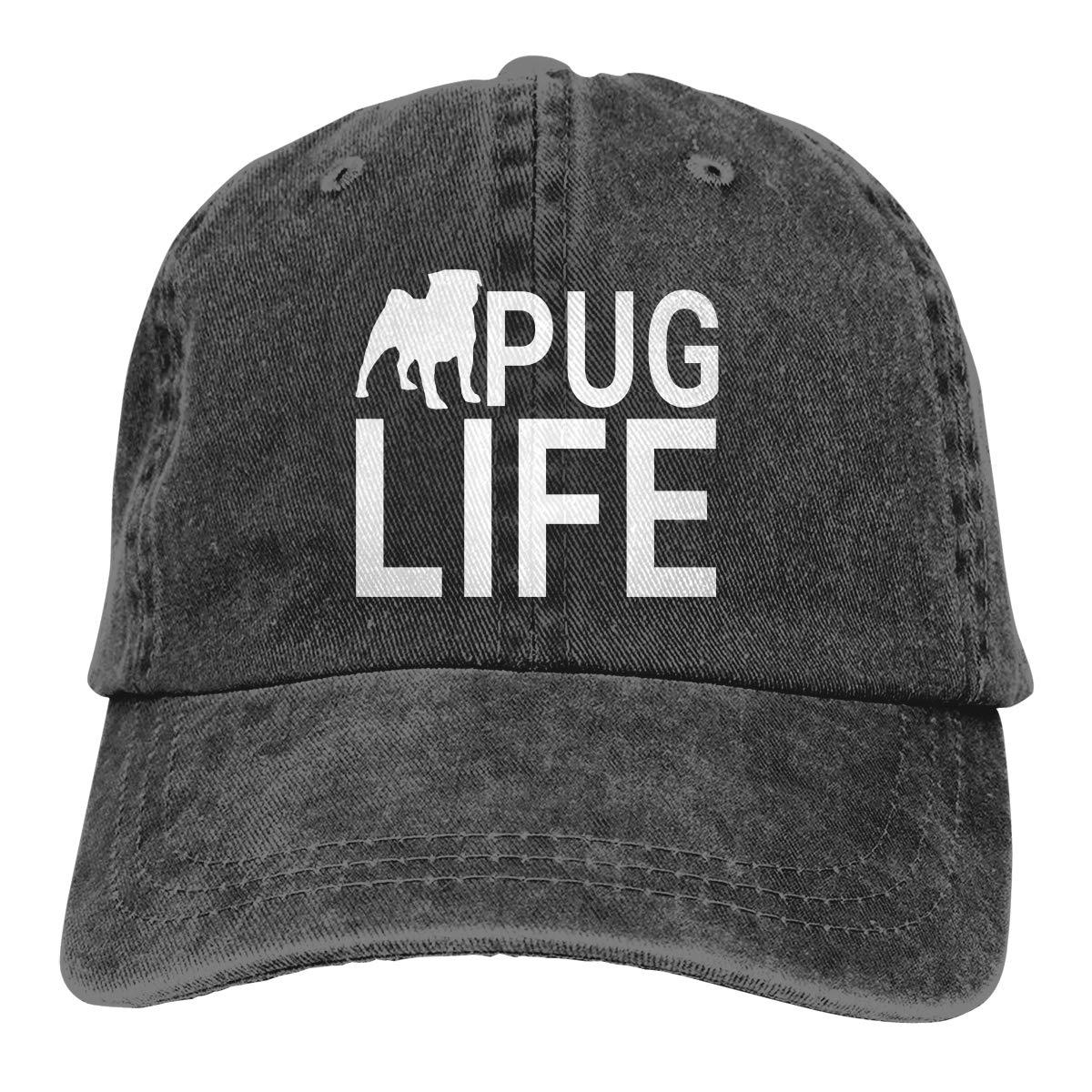 Qbeir Adult Unisex Cowboy Cap Adjustable Hat Pug Life Cotton Denim