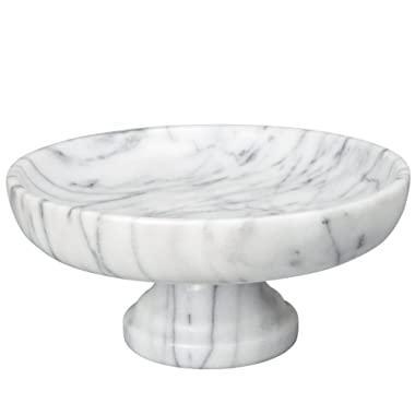 Creative Home Marble Fruit Bowl on Pedestal, 10  x 10 , White