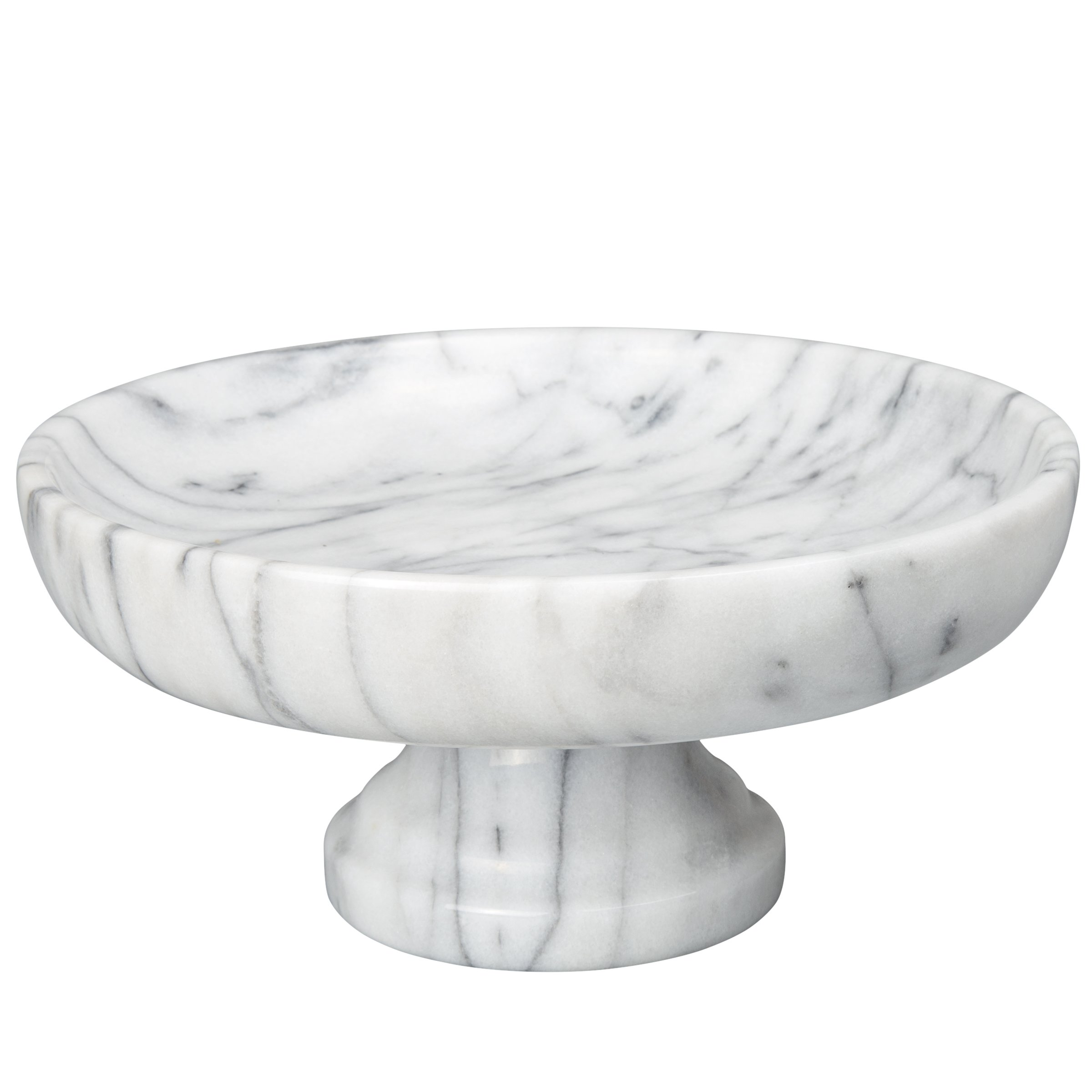 Creative Home Marble Fruit Bowl on Pedestal, 10'' x 10'', White