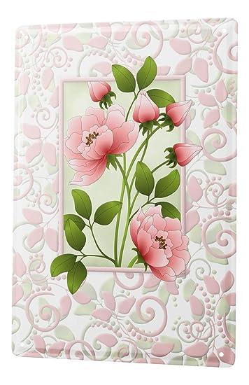 Blechschild Kuchen Deko Grusskarte Blumenmotiv Rosa Rose Metallschild