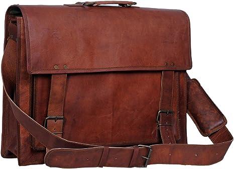 Men/'s Genuine Leather Vintage Laptop Messenger Handmade Briefcase Bag Satchel