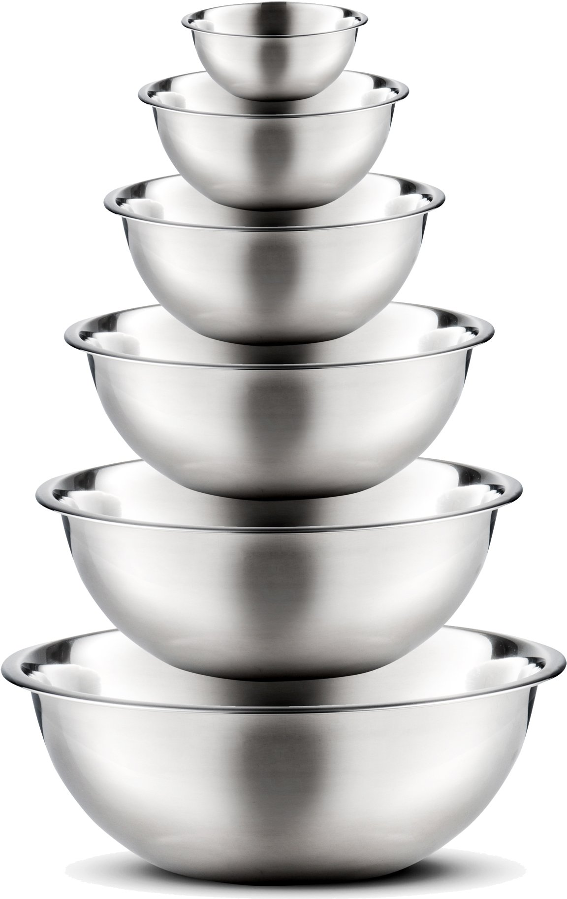 Stainless Steel Mixing Bowls by Finedine (Set of 6) Polished Mirror Finish Nesting Bowl, ¾ - 1.5-3 - 4-5 - 8 Quart - Cooking Supplies by FINEDINE (Image #1)