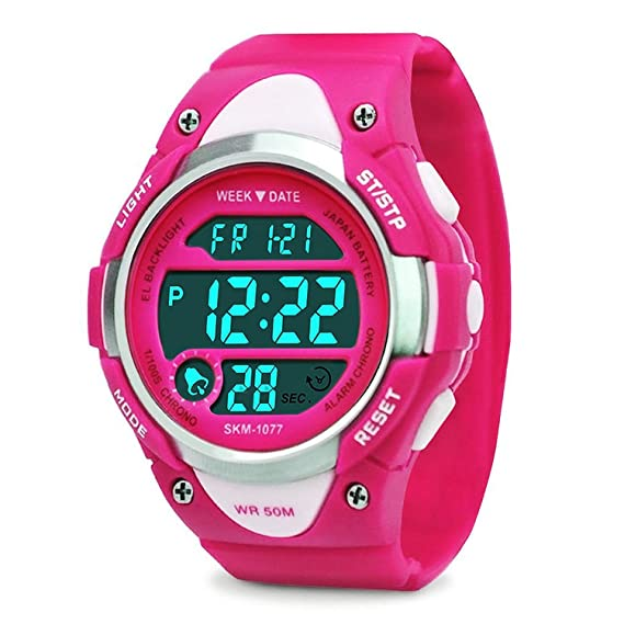 Reloj digital infantil, deportivo, impermeable, para exteriores, con alarma, cronómetro, LED, color rosa: Amazon.es: Relojes