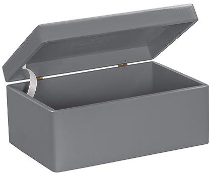 Grinscard Caja de Madera Universal con Tapa para Almacenamiento - Gris Pino Barnizado - Aproximadamente 30
