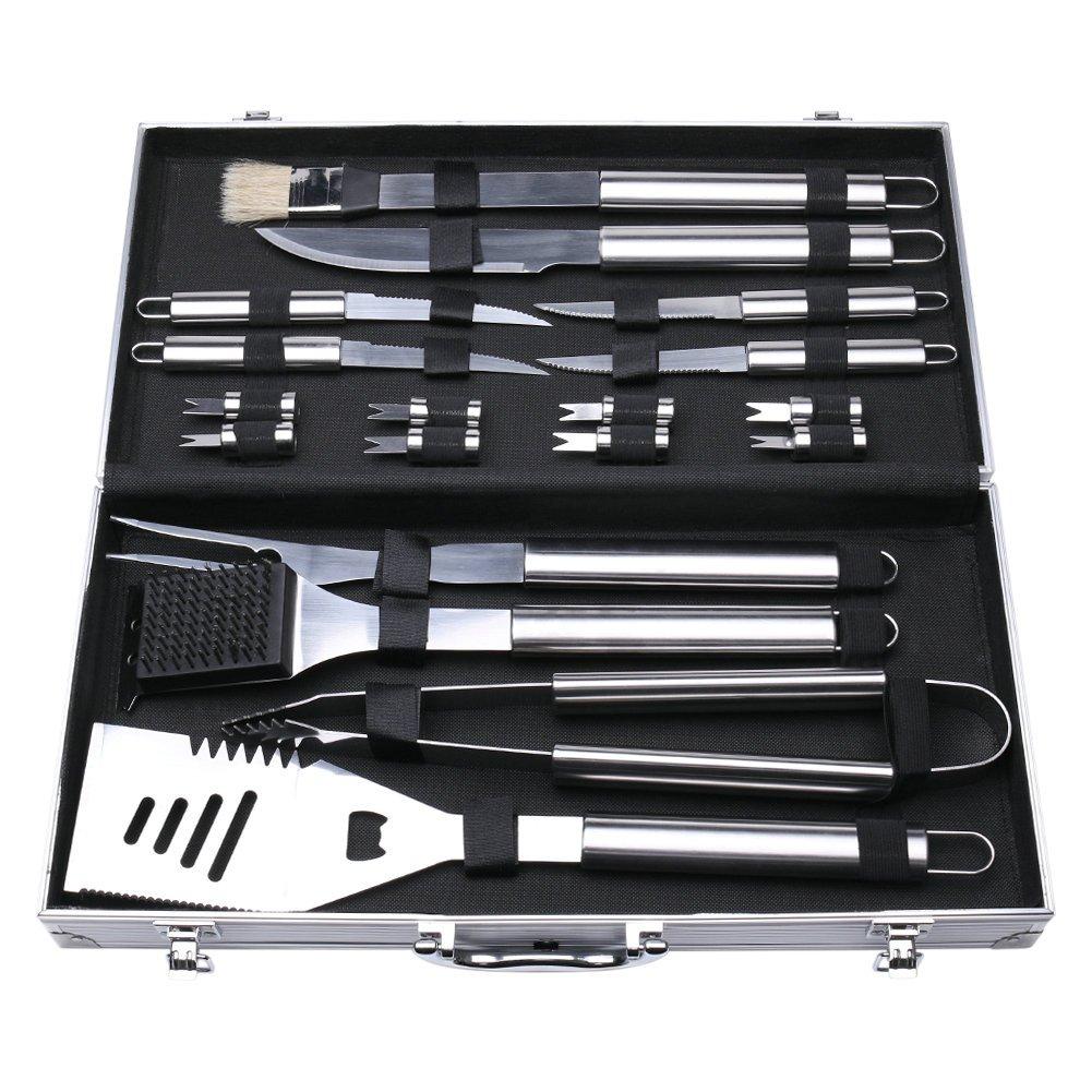 Aidoxi Qualität Edelstahl Grillbesteck-Set Mit Aluminium Aufbewahrungskoffer - Perfekte Schwerlast Professionelle Grill-Werkzeug BBQ Zubehör Kit (24 Teilig)