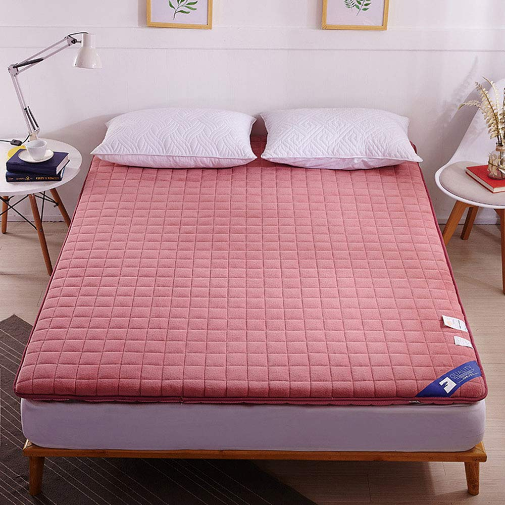 Red 90x200cm Non-Slip Folding Tatami Floor Mattress, Thickened 6 cm Quilted Bed Mattress, Dormitory Hotel Single Double Futon Mattresses Topper Mattress - 150x200 cm (59x78 Inch),Red,90x200cm
