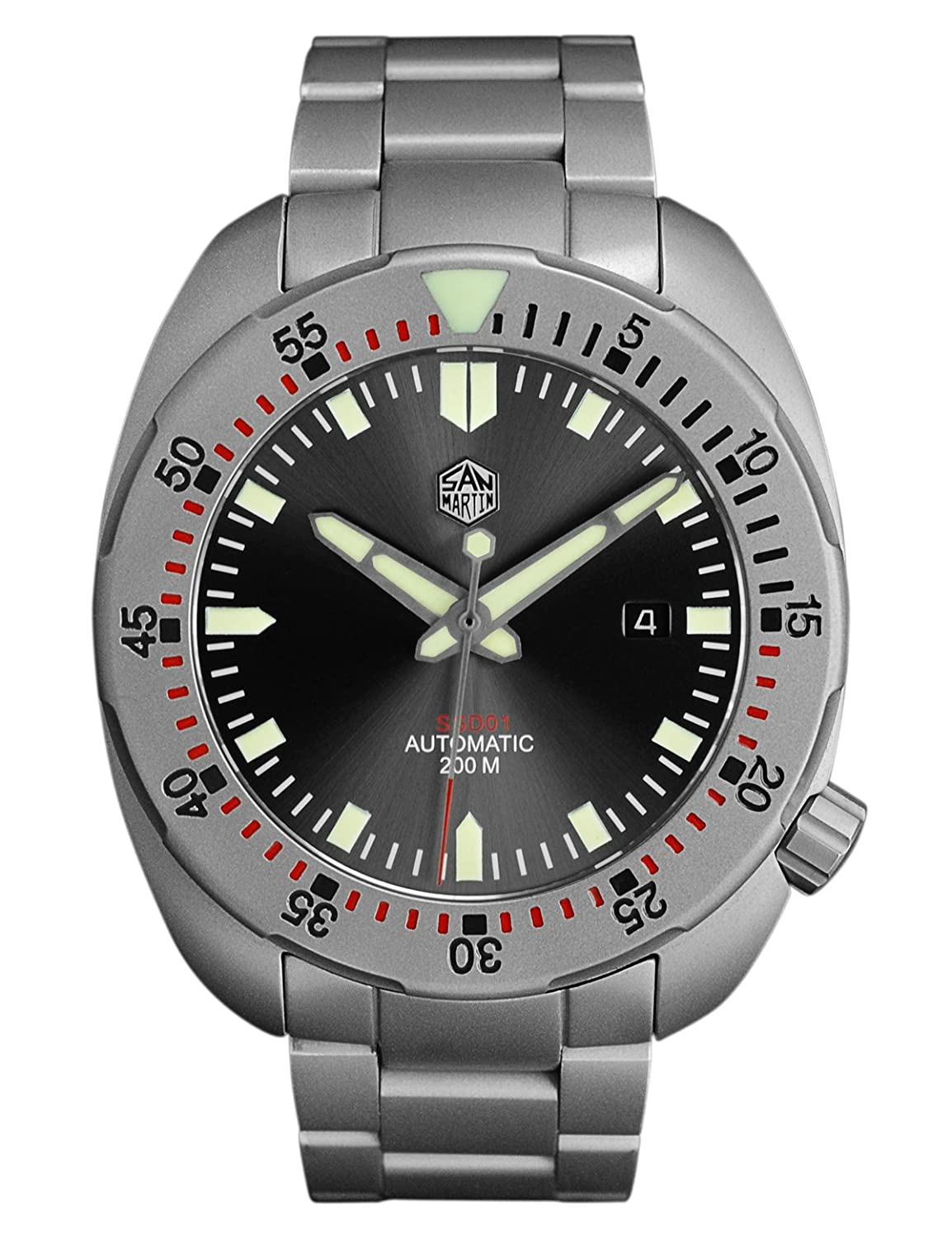 Amazon.com: San Martin Mens Stainless Steel Automatic Dive Watch 200 Meter Water Resistance Sapphire Glass 44MM: Watches