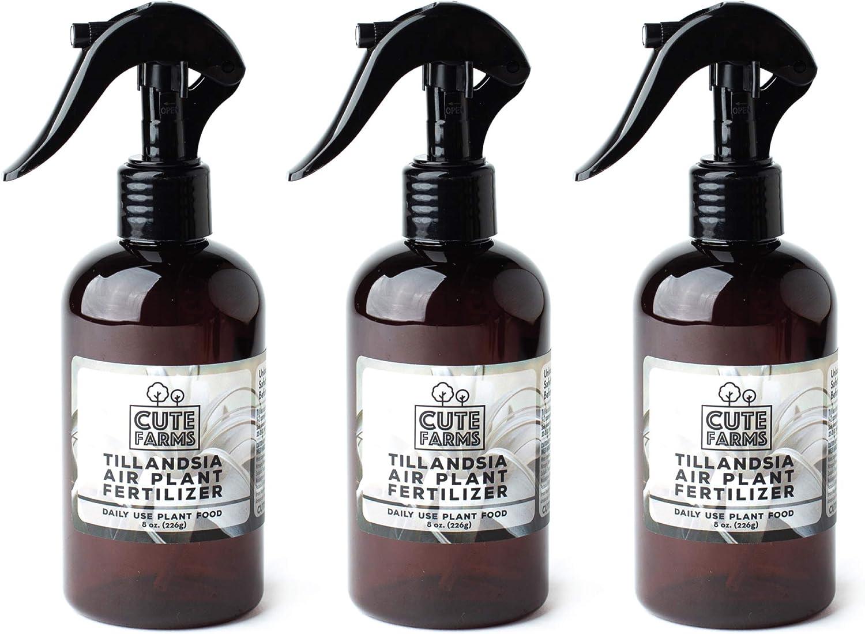 Cute Farms Tillandsia Air Plant Fertilizer   Gentle Daily Use Formula Plant Food (Three - 8 oz. Spray Bottles)