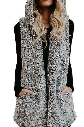 825d494373595 HSRKB Womens Sleeveless Vest Sherpa Fleece Winter Coats Hooded Cardigans  Grey