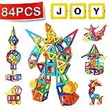 Mini Construction Magnétique, Distianert 84 pièces Jeu Construction Cadeaux pour les Enfants, 46 Jeux Magnétique/Aimant/Aimanté+38 Non Bloc de Construction Magnétique Accessoires