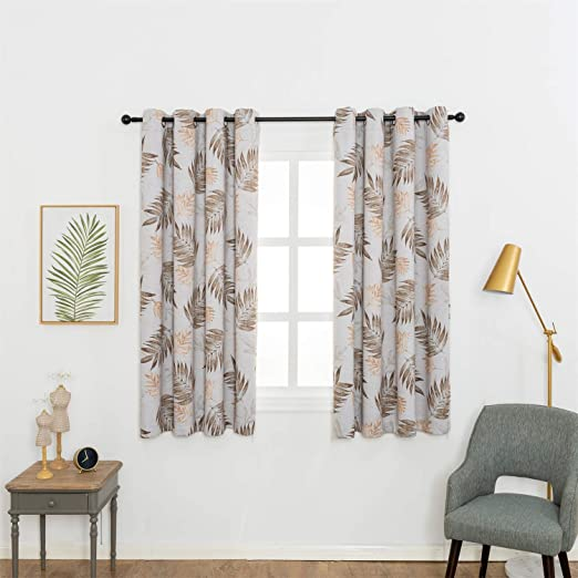Amazon.com: Anjee Blackout Curtain Panels with Tropical Plants Printed for Dining Room, Thermal Insulated Grommet Top Blackout Draperies (2 Panels, W52 x L63 Inch): Furniture & Decor