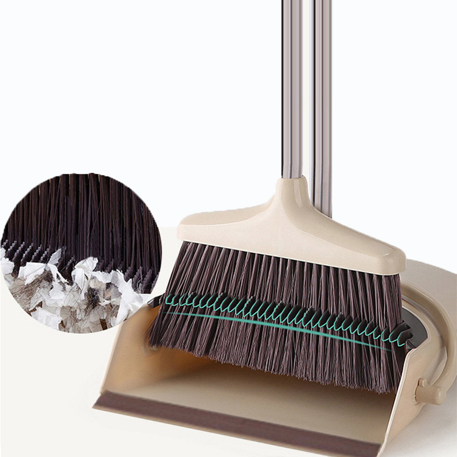 FreedomDesign Rotatable Broom and Dustpan Foldable Set, Dustpan Cleans Broom Combo with Long Handle for Home Kitchen Room Office Lobby Floor Use Upright Stand up Dustpan Broom Set