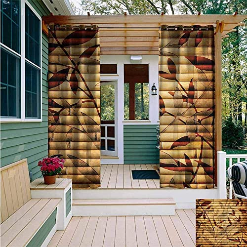 AFGG Outdoor Window Curtains,Beige Bamboo Leaves Bohemian,Grommet Curtains for Bedroom,W108x96L
