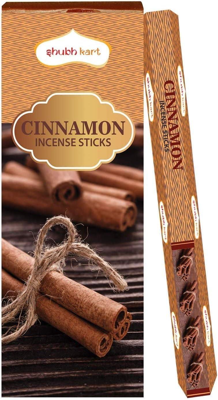Varillas de incienso (aroma a canela, 6 tubos dentro de la caja) 120 varillas