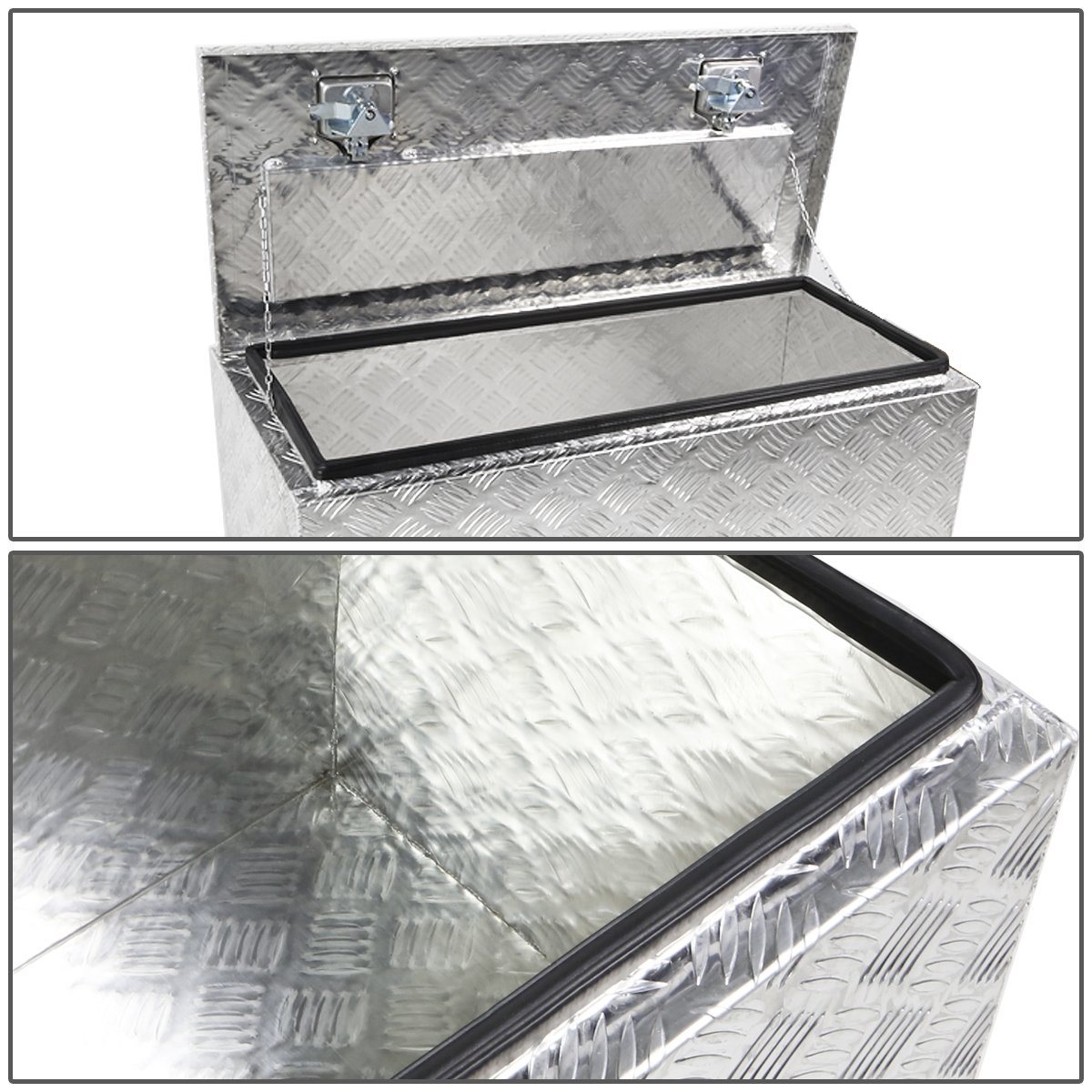 DNA MOTORING TBOX-T2-30-ALU Rear Truck Bed Trailer Key Lock Aluminum Storage Tool Box