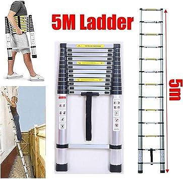 5M telescópica Escalera de extensión Escalera de Aluminio compacto Loft Escalera cubierta de bricolaje al aire libre Trabajo Escalera plegable de bloqueo de seguridad 150kg / 330lbs máximo de carga dl: Amazon.es: