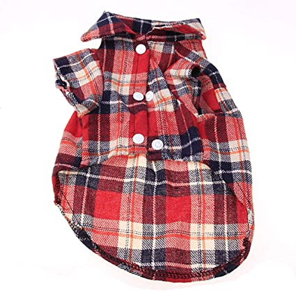 1f43d094c707 Amazon.com   Milabelle Fashionable Plaid Pet Shirt Summer Dog Shirt Casual Dog  Tops Dog Clothes Puppy Outfits Pet Clothing for Small Dogs   Pet Supplies
