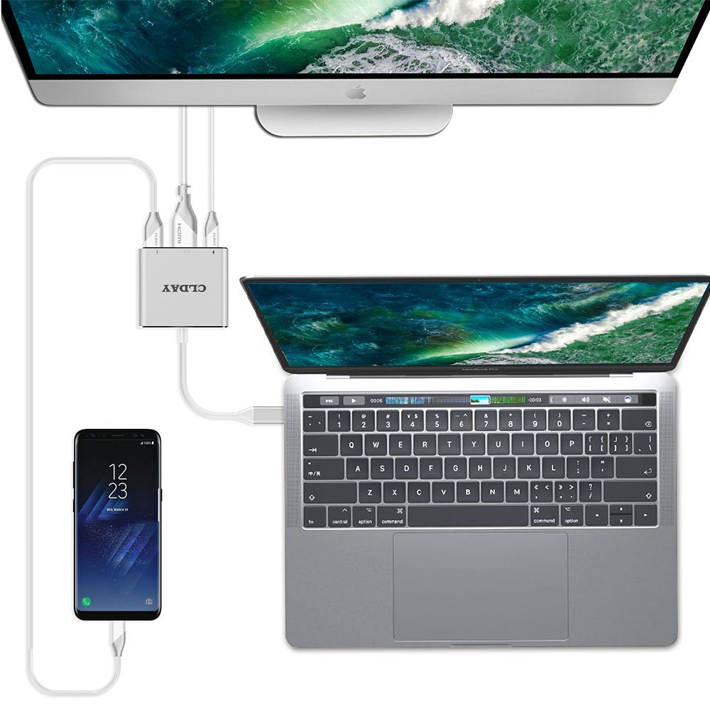 USB-C to HDMI Adapter 4K CLDAY USB Type C to HDMI Multiport AV Converter 3-in-1 with USB 3.0 Port and USB-C Fast Charging Port Compatible ChromeBook Pixel//USB-C Devices HDMI Hub Adapter