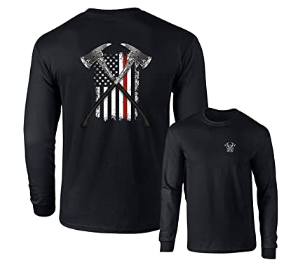 42db37bf Amazon.com: Thin Red Line Firefighter Long Sleeve T-Shirt Fire Axes US Flag  F&B: Clothing