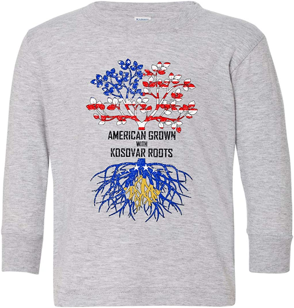 Tenacitee Toddlers American Grown with Kosovar Roots Long Sleeve T-Shirt