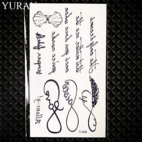 GHHCG Palabras Negras Dibujo de Tatuaje Mujeres Dedo Tatuaje ...