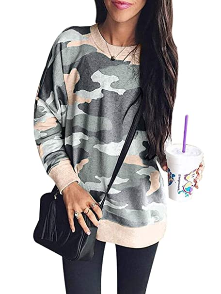 LANREMON Womens Leopard Camo Printed Long Sleeve Fashion Sweatshirt Casual Loose Pullover T-Shirt Blouse Tops