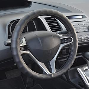 """BDK SW-899-SK Genuine Leather Car Steering Wheel Cover 13.5""""-14.5"""" (Small/Black) - Universal Fit, Easy Installation"""