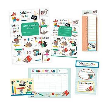 6 piezas Set de regalo - Tarjeta de material escolar, libro para ...