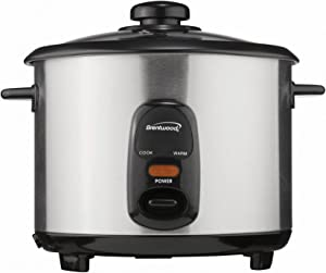 Brentwood TS-10 Rice Cooker, 5-Cup, Stainless Steel