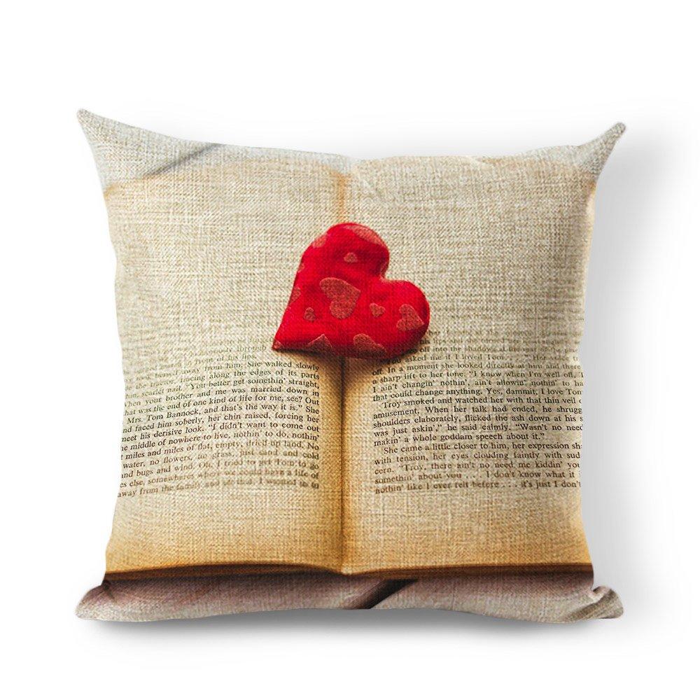 Amazon.com: starflowss funda de almohada amor libro lino y ...