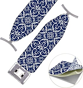 "TUYU Ironing Board Cover(46""x10.2""), 100% Polyester Cotton Ironing Board Padded Cover with Drawstring Closing, Replacement Iron Board Cover, Anti-Heat and Anti-Focus (S: 46""x10.2"")"