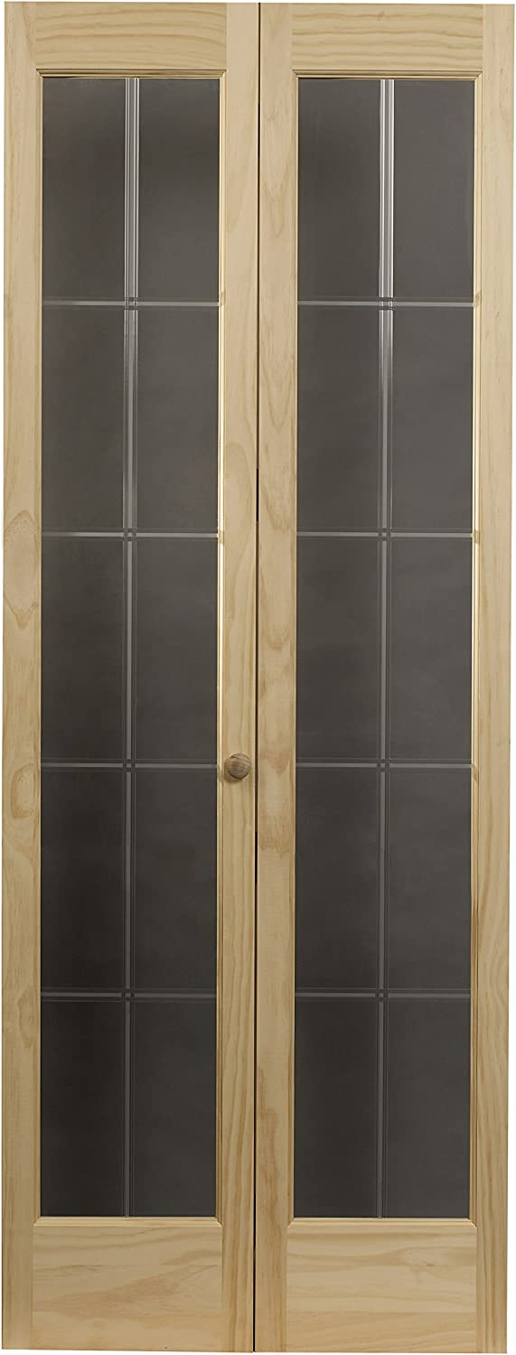 LTL Home Products 853726 Pioneer Full Glass Interior Bifold Solid Wood Door, 30 Inches x 80 Inches, Unfinished Pine