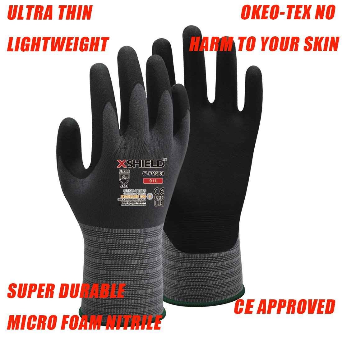 XSHIELD 17-PMG,Ultimate-Nylon, Micro-Foam Nitrile Grip Safety Work Gloves for General Purpose, OKEO-Tex Certificated,Ideal for Auto Repair, DIY,Home Improvement,12 Pairs(Large) by X-Shield (Image #2)