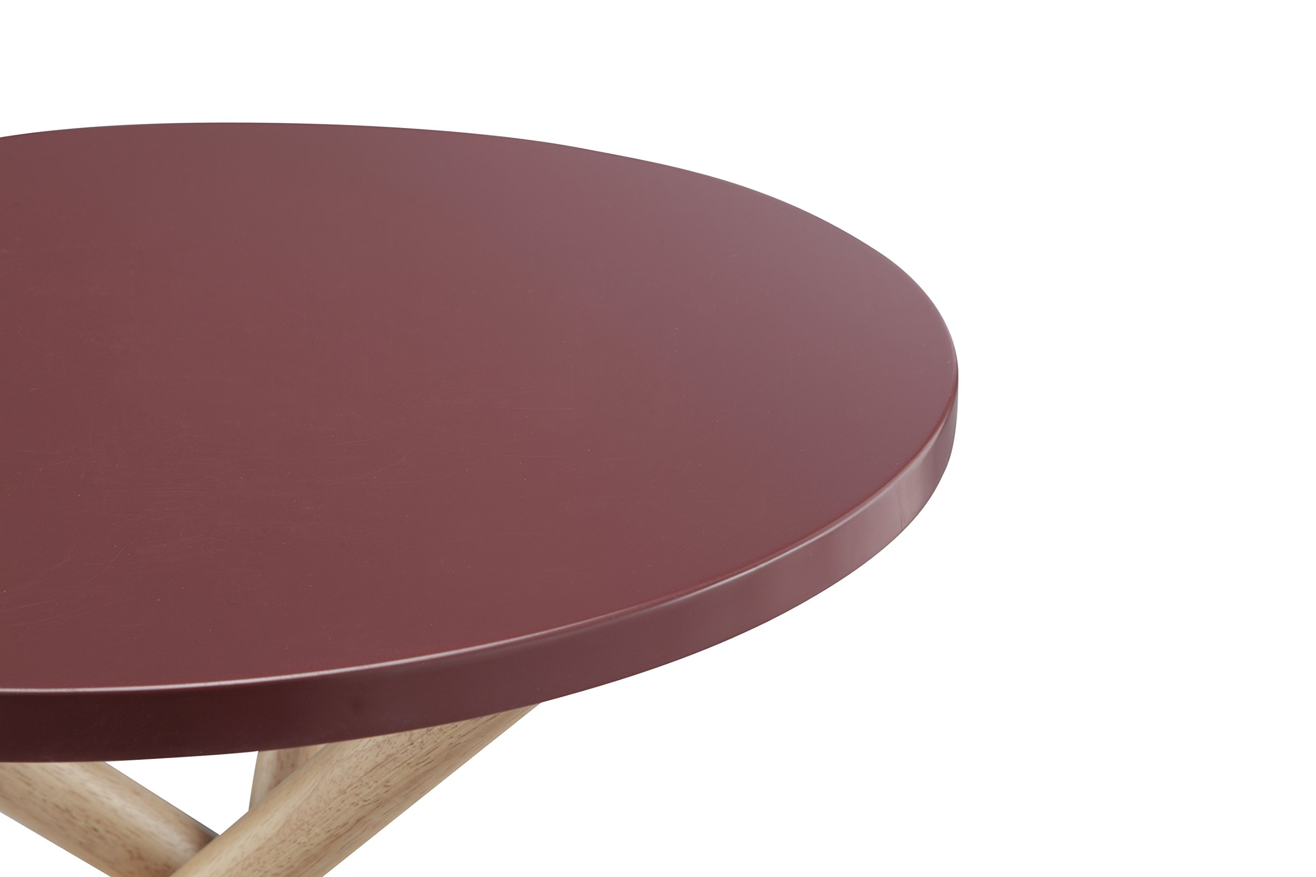 ACME Lanica Burgundy and Natural End Table - Round tripod table Wooden round Top Wooden tripod base - living-room-furniture, living-room, end-tables - 71lqJgdKYrL -