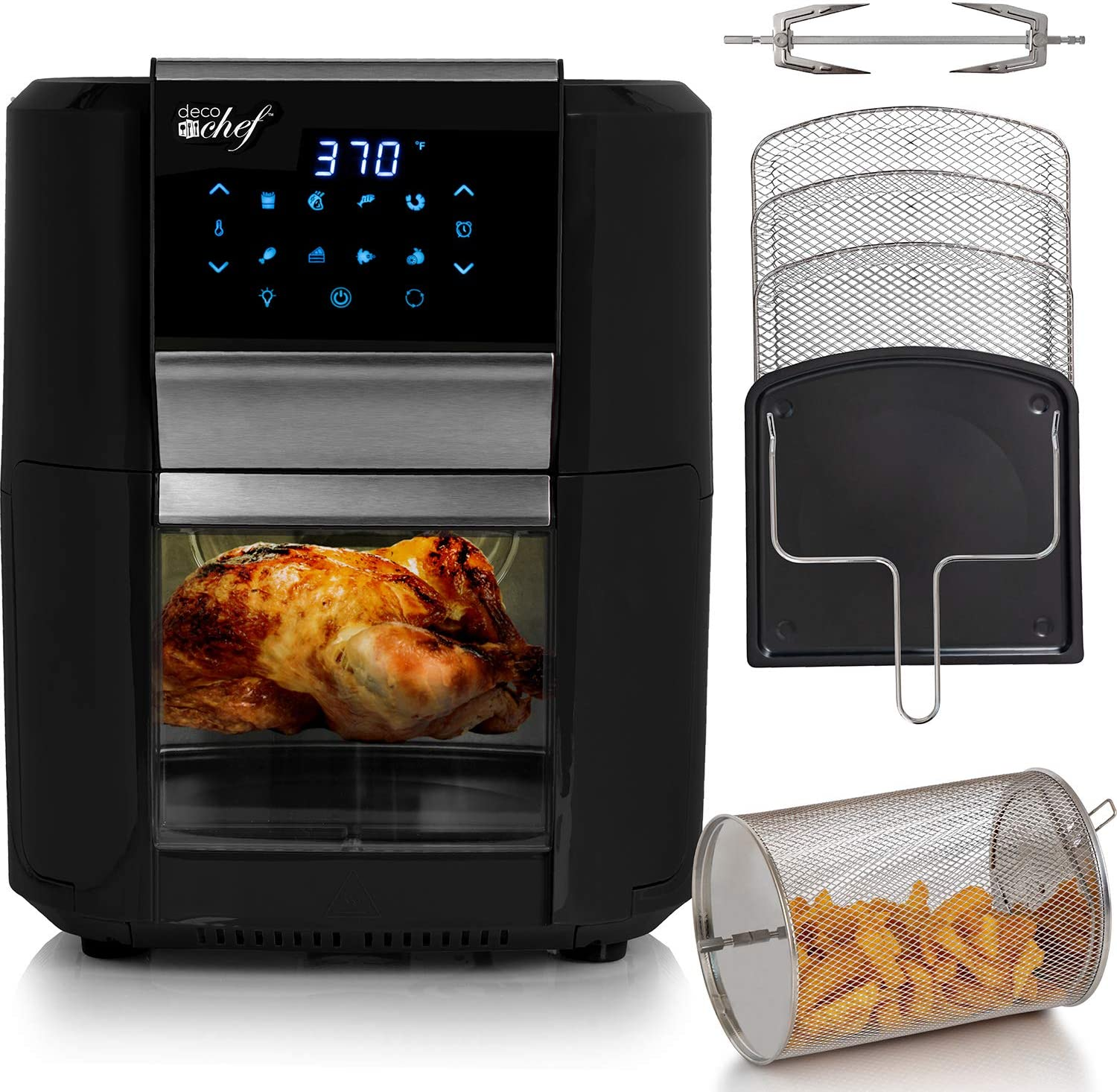 Deco Chef 12.7 QT Digital Air Fryer Oven with 8 Preset Cooking Modes,1700W Power, Cool-Touch Housing, Includes Rotisserie Set, 3 Roasting Racks, Oil Drip Tray, Rotating Basket, ETL Certified (Black)