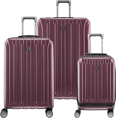 DELSEY Paris Titanium Hardside Expandable Luggage with Spinner Wheels, Purple, 3-Piece Set 19 25 29