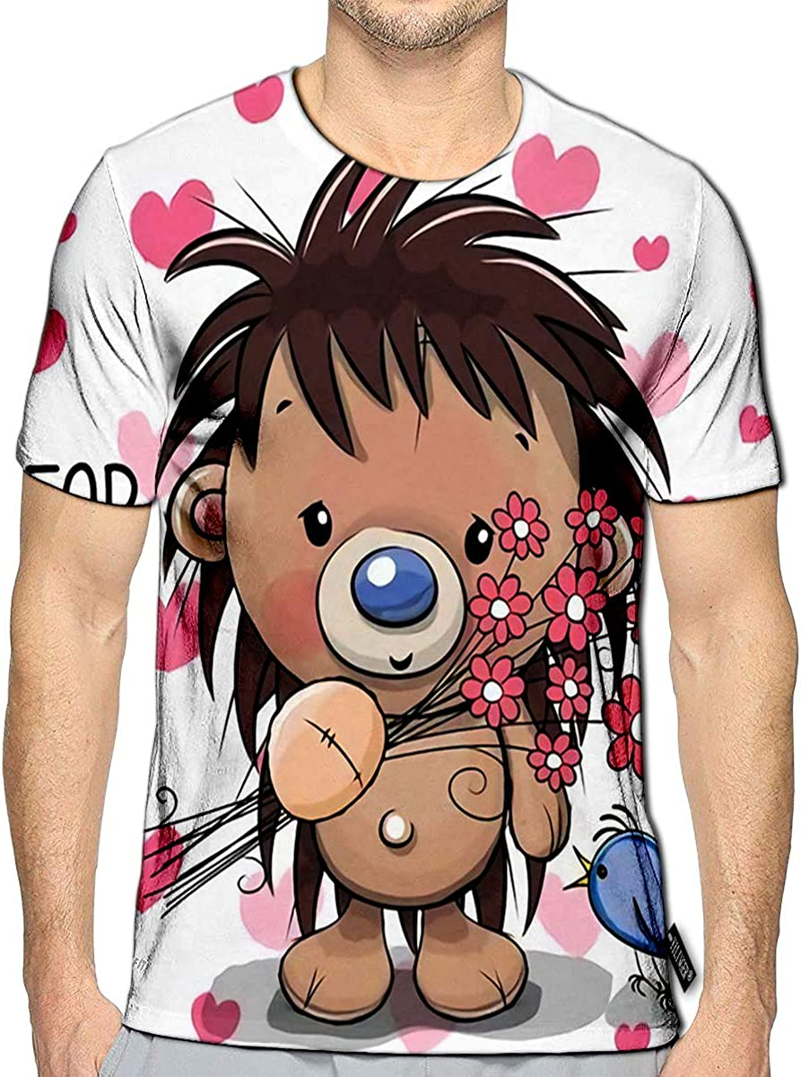 YILINGER 3D Printed T Shirts Cute Cartoon Hedgehog with Flower Casual Mens Hipster Top Tees