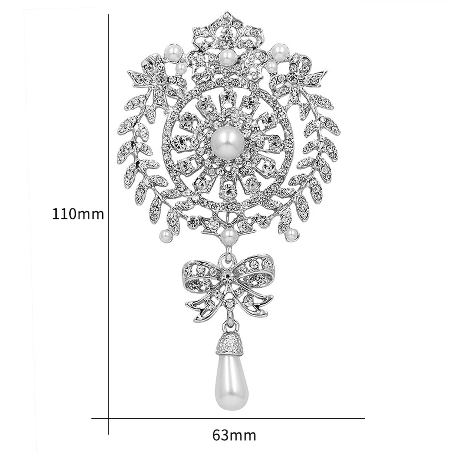 Large Size Crystal Diamante And Imitation Pearl Drop Scroll Brooches For Women Or Wedding,Silver