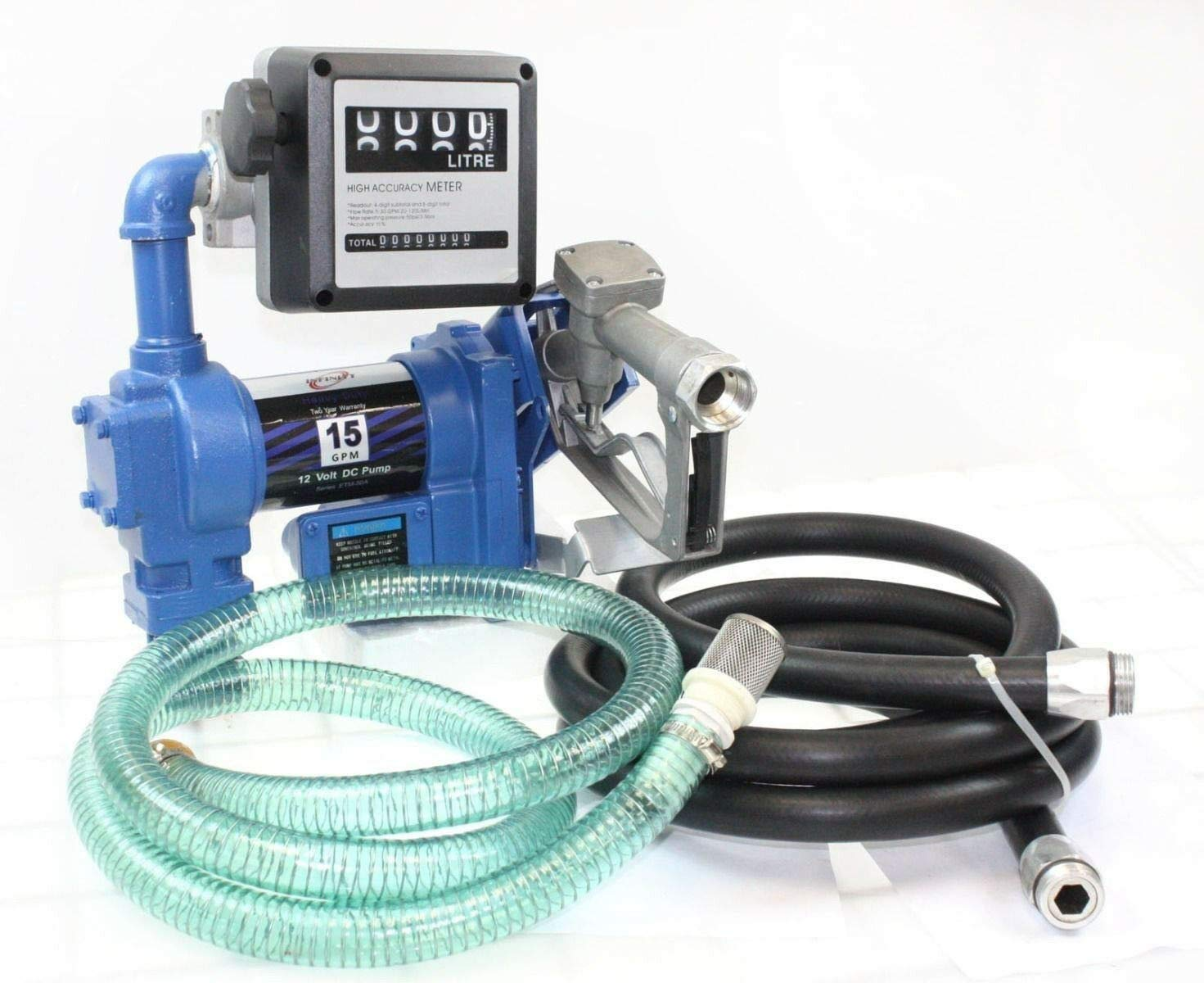 9TRADING 12 Volt Anti-Explosive Gasoline Fuel Transfer Pump 15GPM with Meter Hoses & Nozzle