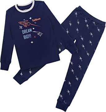 TaiMoon Niños Pijama, Ropa de Dormir Invierno Algodón Manga Larga Conjunto de Pijama Edades 6-14 años