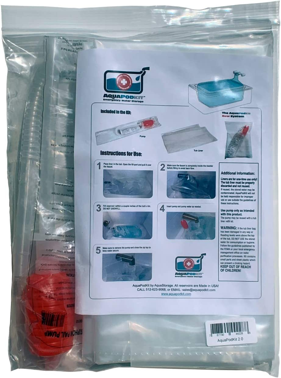 AquaPodKit All Bathtub Bladders Made in USA! Temporary Emergency Water Storage Container, Hurricane Survival