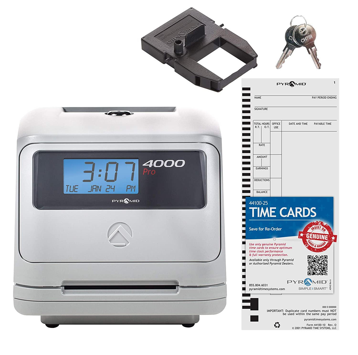 Pyramid 4000 Auto Totaling Time Clock, 50 Employees - Made in USA