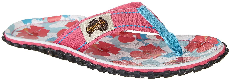 Gumbies Damen Zehentrenner - Rosa/Blau Schuhe in Uuml;bergrouml;szlig;en  42 EU|Mixed Hibiscus