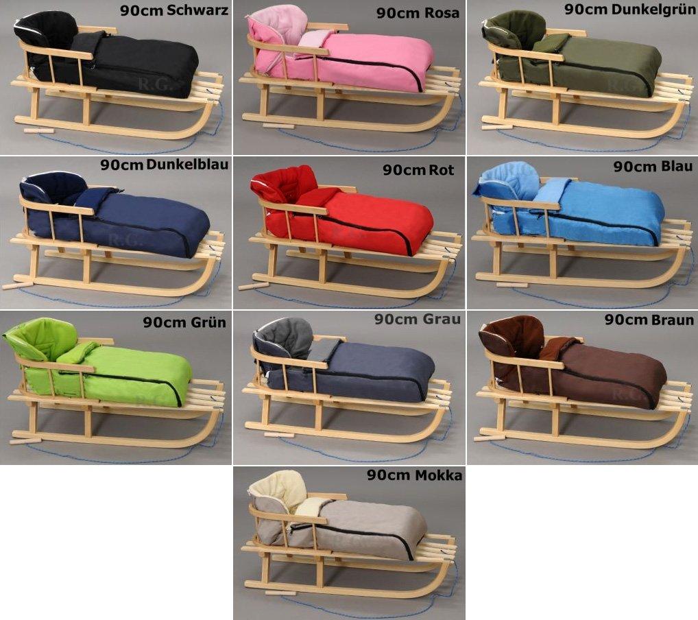 Holzschlitten mit Rückenlehne mit Winterfußsack Schlitten Holz | 10 Farben (Grau)