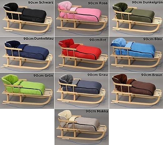 Holzschlitten mit Rückenlehne mit Winterfußsack Schlitten Holz | 10 Farben (Rot)