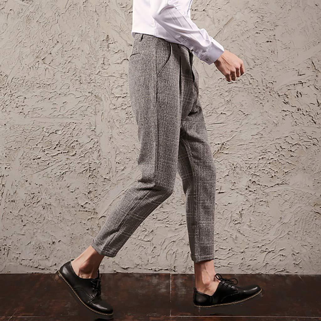 Botrong Summer Mens Large Size Fashion Pants Solid Color Casual Long Pants