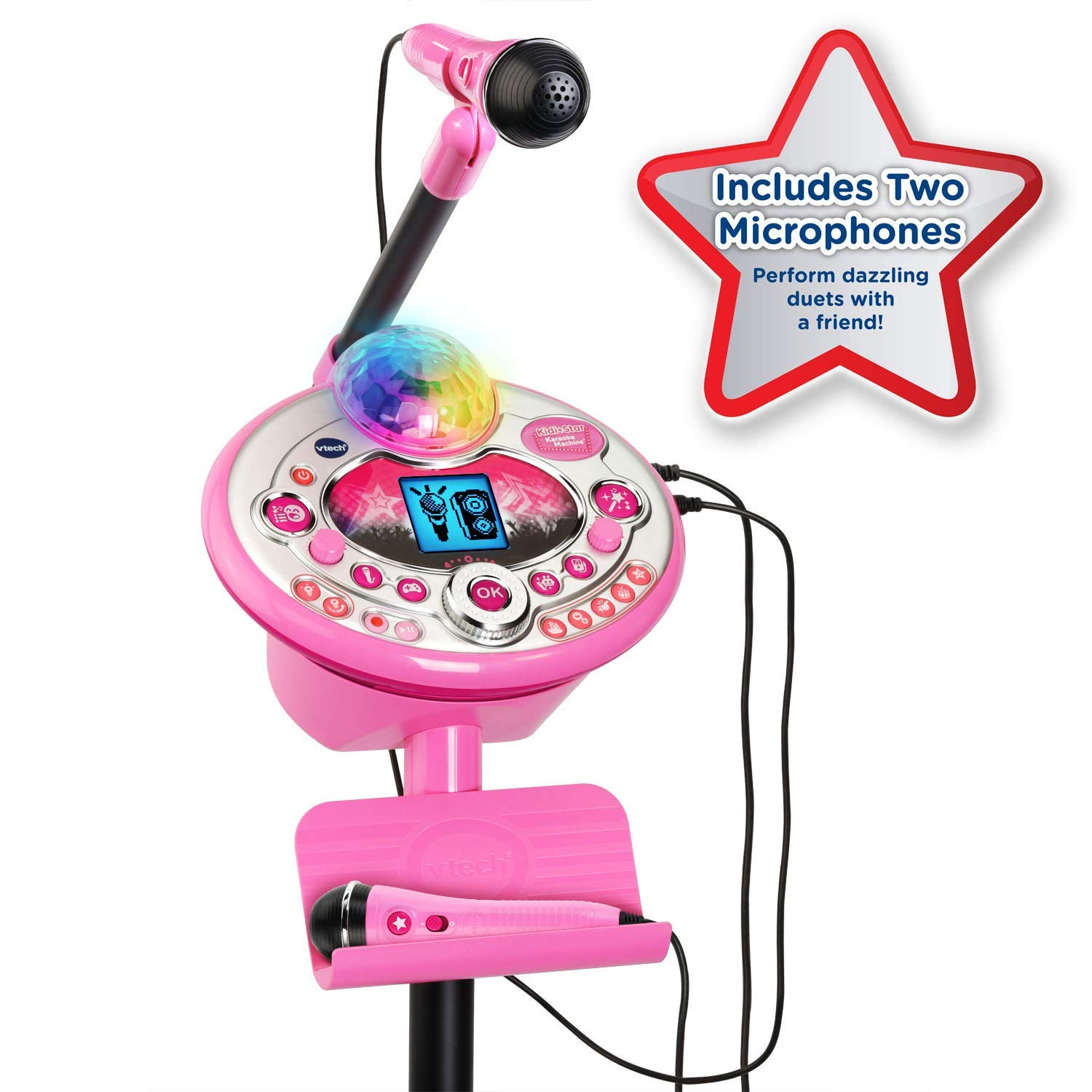 VTech Kidi Star Karaoke System 2 Mics with Mic Stand & AC Adapter, Pink (Renewed) by VTech (Image #1)