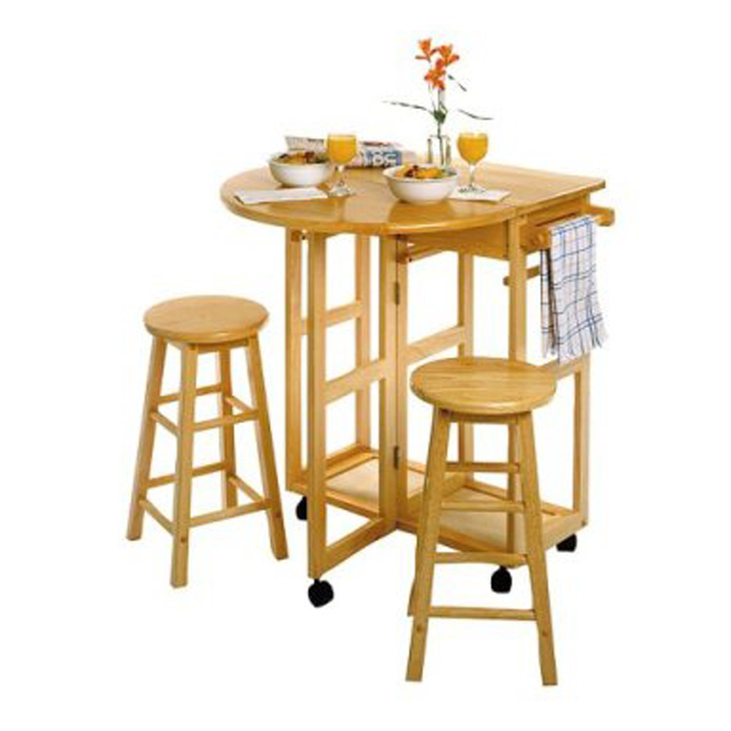 Amazon Breakfast Cart w Table and 2 Stools in White Kitchen
