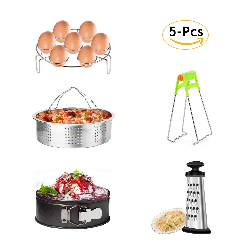 MARKKEER Instant Pot Accessories Set with Steamer Basket, Egg Steamer Rack, Non-stick Springform Pan, Dish Clip,Box Grater