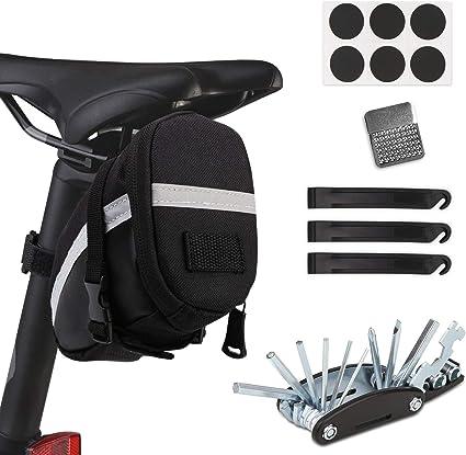 IWILCS Fahrrad Satteltasche mit Fahrradpumpe und Fahrrad Reparatur Set Multitool Fahrrad Reparatur Set 16-in-1 Fahrrad Multitools f/ür Mountainbikes und Rennr/äder